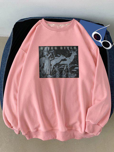 Sweat-shirtAnimalImpriméStyle Rétro - Rose  S Mobile