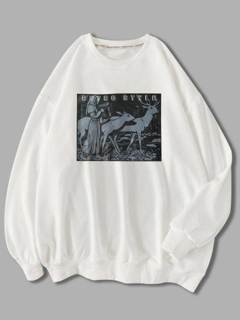 womens Retro Style Woman Animal Graphic Sweatshirt - WHITE L Mobile