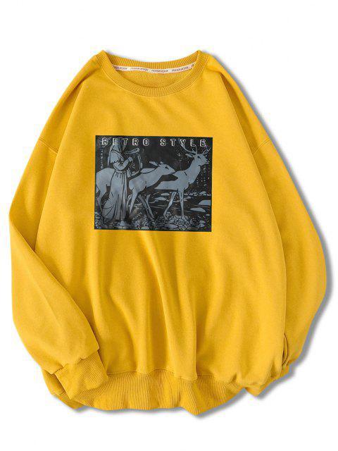 Moletom gaze com retalhos de Retro - Amarelo Brilhante 2XL Mobile