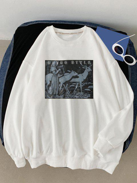 ladies Retro Style Woman Animal Graphic Sweatshirt - WHITE XL Mobile