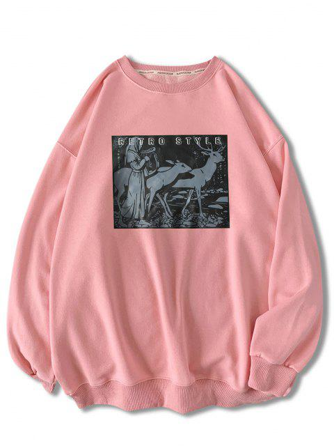 lady Retro Style Woman Animal Graphic Sweatshirt - PINK M Mobile