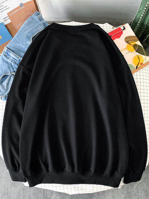 buy Letter Angel Print Rib-knit Trim Sweatshirt - BLACK M Mobile