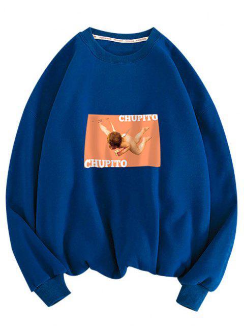 women Letter Angel Print Rib-knit Trim Sweatshirt - BLUE L Mobile
