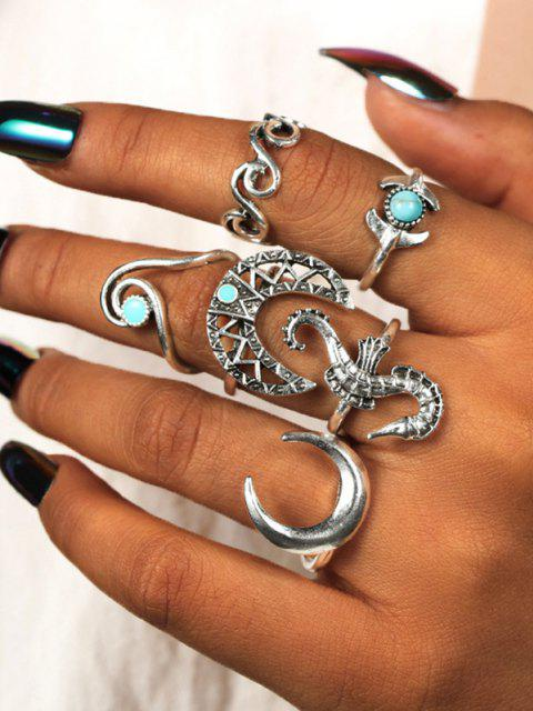 chic 6 Piece Seahorse Moon Carved Finger Rings Set - SILVER  Mobile