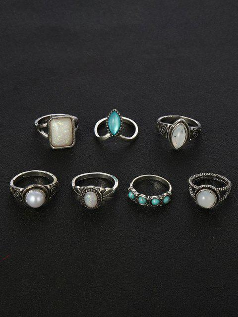 affordable 7 Piece Faux Gemstone and Turquoise Finger Rings Set - SILVER  Mobile