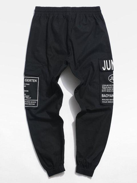 Pantalones de Cargo con Estampado de Letras - Negro L Mobile