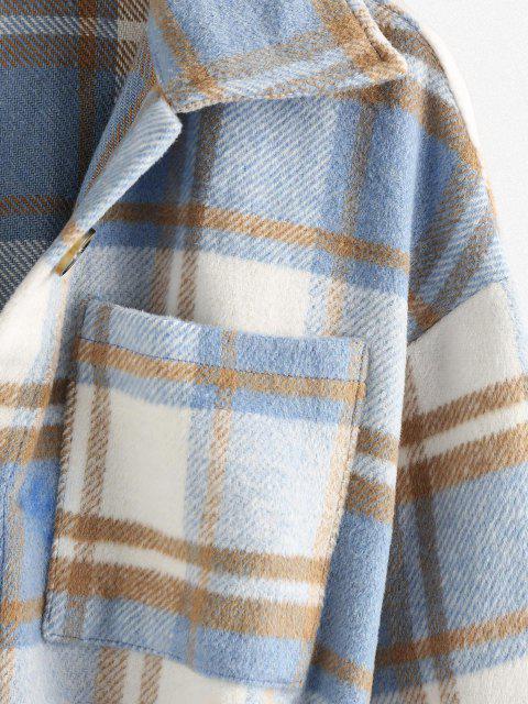 chic Front Pockets Plaid Belted Jacket - LIGHT BLUE XL Mobile