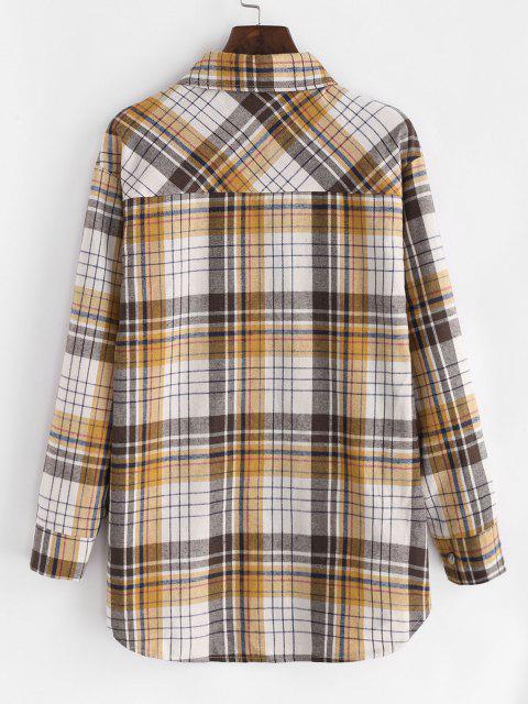Plaid Flannel Flap Pocket Tunic Shirt - القهوة الخفيفة M Mobile