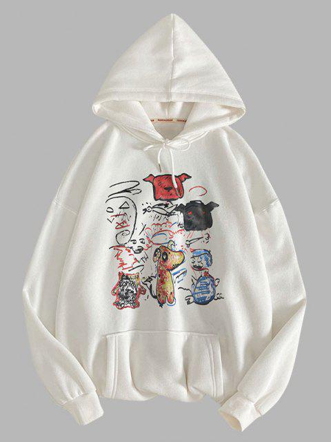 fancy Funny Animal Graffiti Print Hoodie - WHITE S Mobile