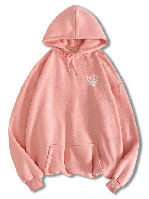 lady Letter Graphic Print Front Pocket Hoodie - PINK XL Mobile