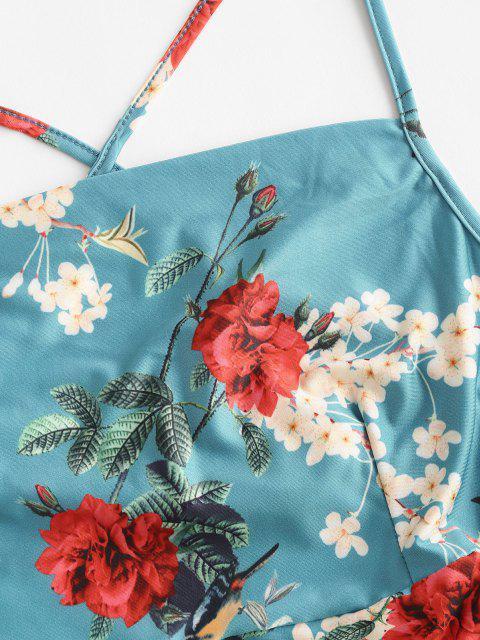 Kreuzes und Queres Geraffte Blumen Cami Bodycon Kleid - Blau L Mobile