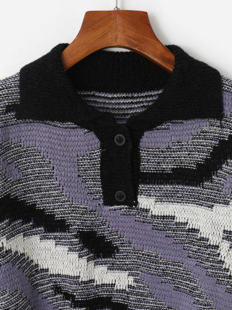 sale Button Front Heathered Pullover Sweater - PURPLE ONE SIZE Mobile