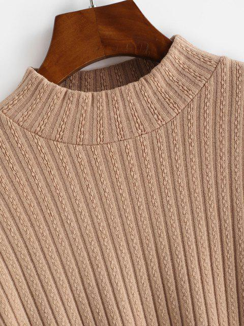 hot Lantern Sleeve Mock Neck Drop Shoulder Sweater - COFFEE S Mobile