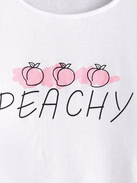 unique Ribbed Lettuce Peachy Graphic Tee - WHITE M Mobile