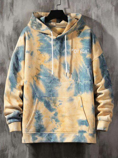 fancy Tie-dye Letter Print Hoodie - SILK BLUE 3XL Mobile