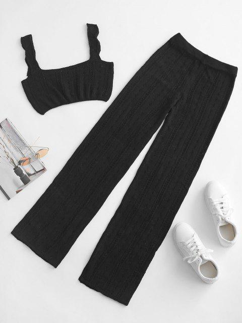 outfits Pointelle Knit Square Neck Two Piece Pants Set - BLACK L Mobile