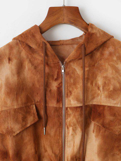 affordable Tie Dye Flap Detail Corduroy Jacket - COFFEE S Mobile