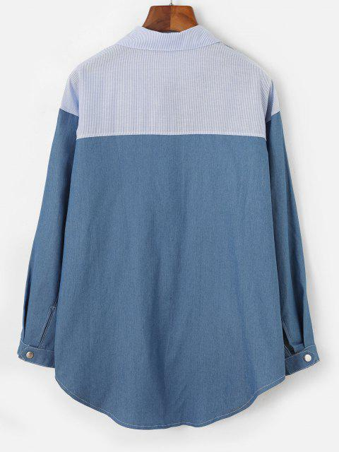 trendy Stripes Panel Front Pocket Chambray Shirt - DENIM BLUE S Mobile