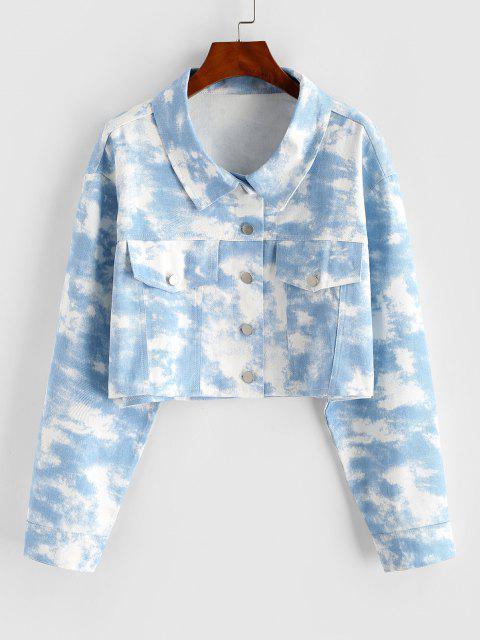 Tie Dye Crop Shirt Jacket - أزرق فاتح S Mobile