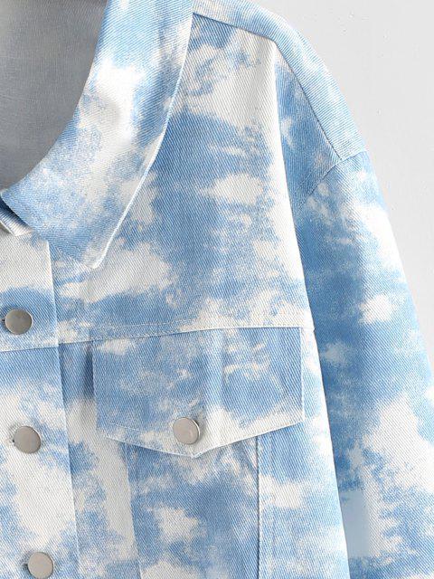Chaqueta Cortada de Tie-dye Sin Mangas - Azul claro S Mobile