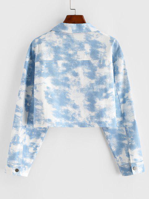 Tie Dye Crop Shirt Jacket - أزرق فاتح L Mobile