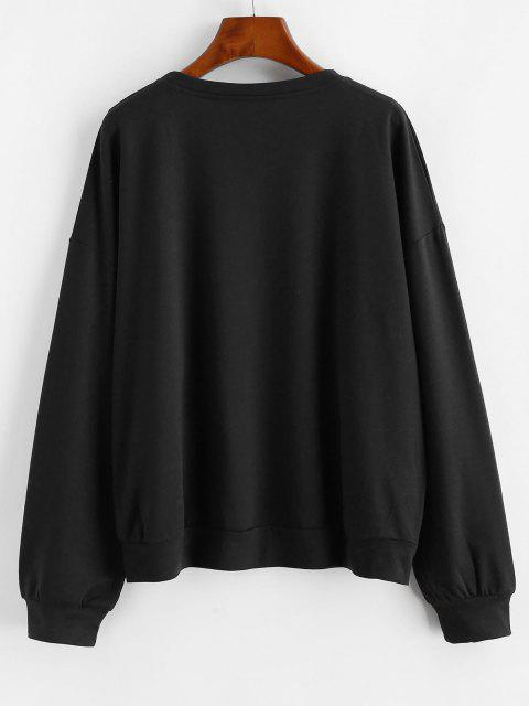 ladies Letter Graphic Drop Shoulder French Terry Sweatshirt - BLACK M Mobile