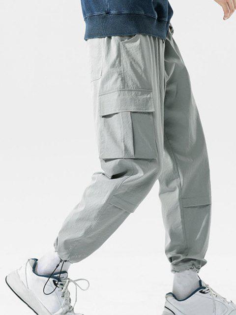 Pantalones de Carga de Bolsillo con Estampado de Letras - Gris Claro 3XL Mobile