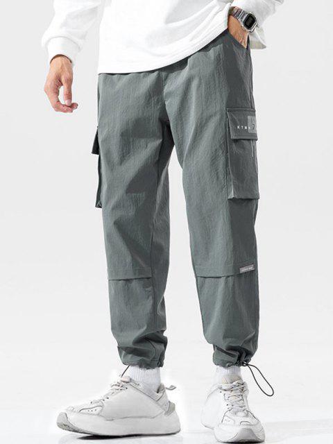 Pantalones de Carga de Bolsillo con Estampado de Letras - Gris Oscuro M Mobile