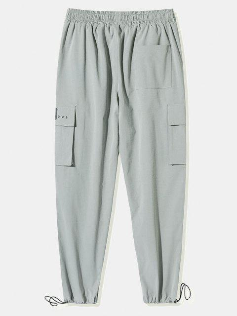 Pantalones de Carga de Bolsillo con Estampado de Letras - Gris Claro L Mobile