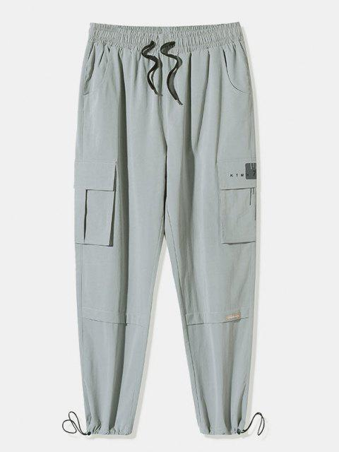 Letter Stripes Pattern Flap Pocket Cargo Pants - رمادي فاتح 2XL Mobile