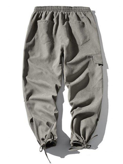 Pantalones de Bolsillo de Solapa con Estampado de Japón - Gris L Mobile