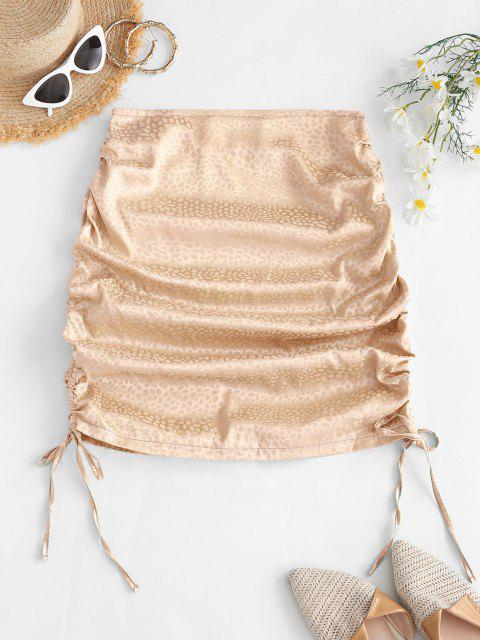 hot Side Cinched Jacquard Satin Skirt - LIGHT COFFEE S Mobile