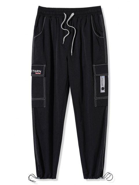 Pantalones de Carga con Estampado de Letras de Bolsillo de Solapa - Negro 2XL Mobile