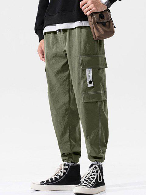 shop Flap Pocket Letter Print Toggle Cuff Cargo Pants - ARMY GREEN XL Mobile