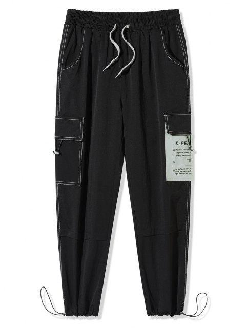 Pantalones de Carga de Empalme de Letras - Negro 4XL Mobile