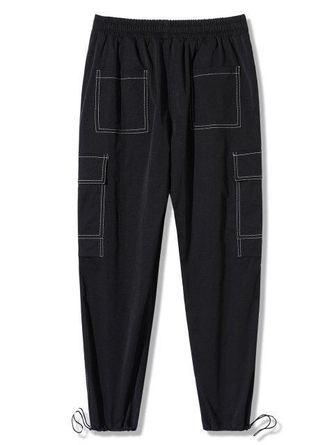 Pantalones de Carga con Estampado de Letras de Bolsillo de Solapa - Negro 4XL Mobile