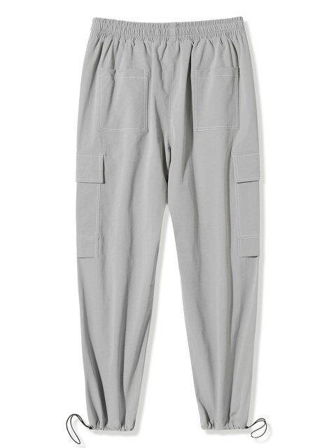 Pantalones de Carga con Estampado de Letras de Bolsillo de Solapa - Gris Claro XL Mobile