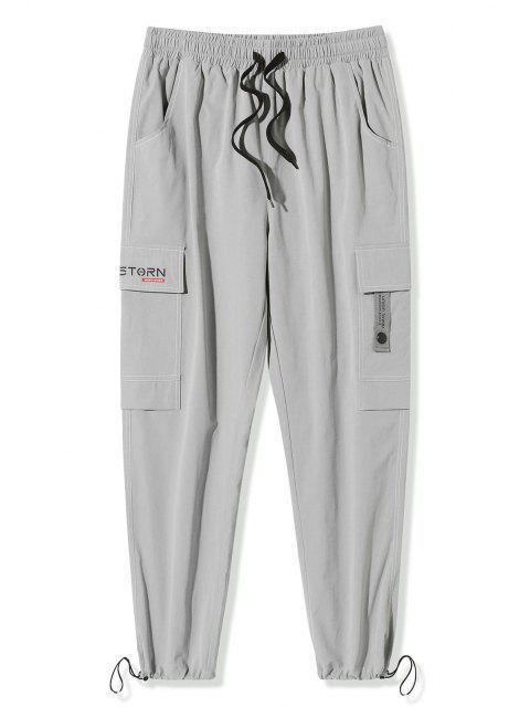Pantalones de Carga con Estampado de Letras de Bolsillo de Solapa - Gris Claro 3XL Mobile