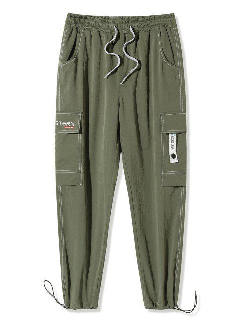 Pantalones de Carga con Estampado de Letras de Bolsillo de Solapa - Ejercito Verde M Mobile