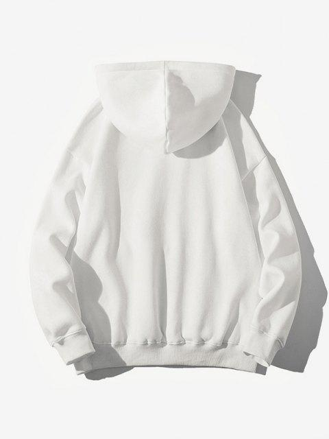 unique Lofty Mountains And Running Water Chinese Pattern Hoodie - WHITE M Mobile