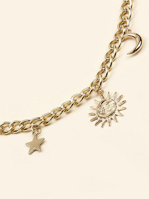 hot Sun Moon Star Pendant Trousers Chain - GOLDEN  Mobile