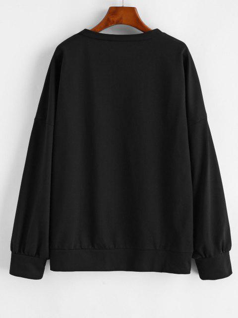 fashion Drop Shoulder Strange Things Print Loose Sweatshirt - BLACK L Mobile
