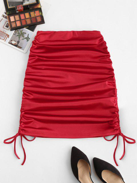latest Cinched Tie Sheeny Bodycon Skirt - RED L Mobile