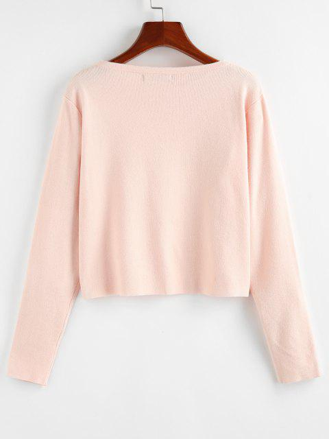 outfits ZAFUL Button Up Plain Jersey Cardigan - LIGHT PINK S Mobile