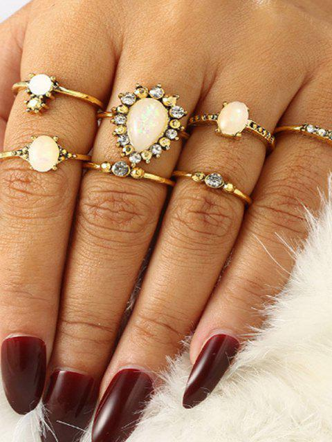 online 7 Piece Rhinestone Teardrop Thin Finger Rings Set - GOLDEN  Mobile