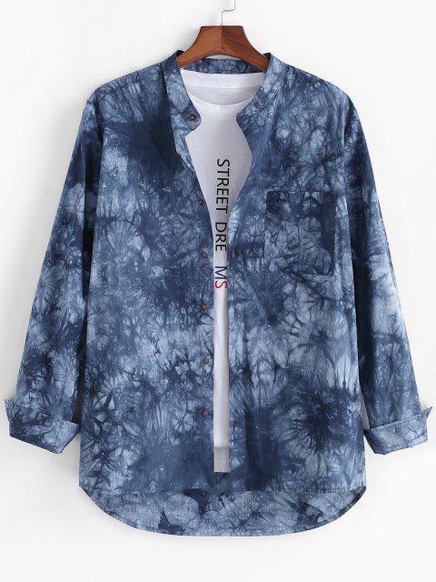 buy Tie Dye Print High Low Pocket Long Sleeve Shirt - BLUE L Mobile