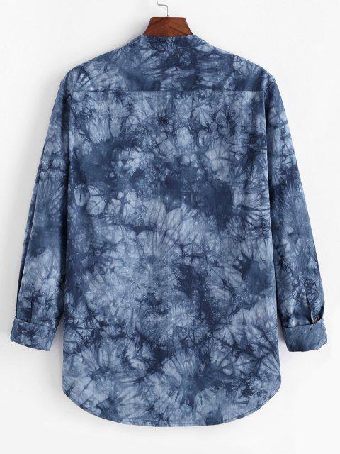 fancy Tie Dye Print High Low Pocket Long Sleeve Shirt - BLUE M Mobile