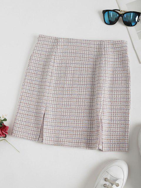 buy Tweed M-slit Mini A Line Skirt - WHITE L Mobile