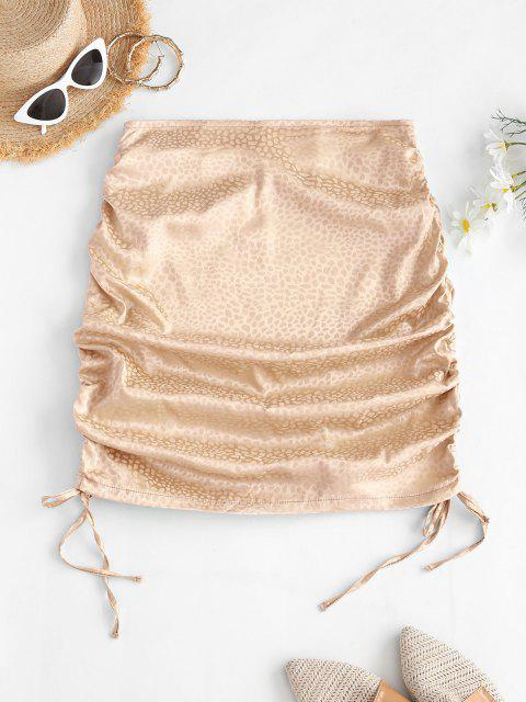 unique Side Cinched Jacquard Satin Skirt - LIGHT COFFEE M Mobile