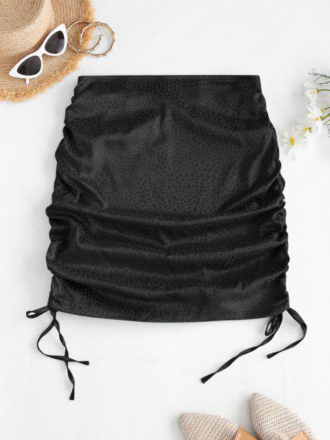 ladies Side Cinched Jacquard Satin Skirt - BLACK S Mobile